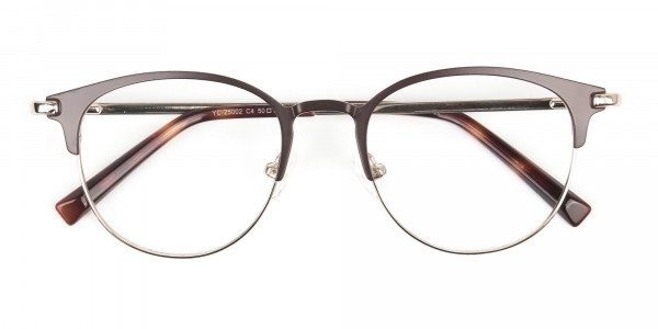 Brown & Gold Keyhole Browline Glasses in Round - 6