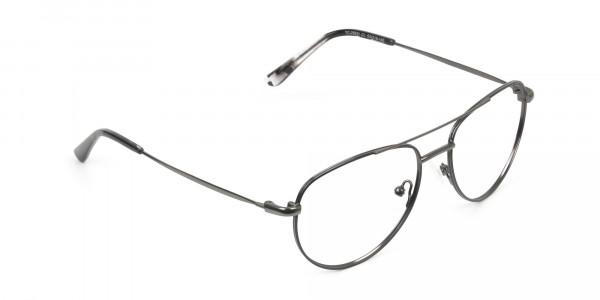 Black and Dark Gunmetal Aviator Glasses - 2