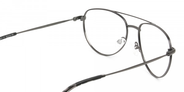 Black and Dark Gunmetal Aviator Glasses - 5