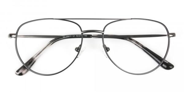 Black and Dark Gunmetal Aviator Glasses - 6