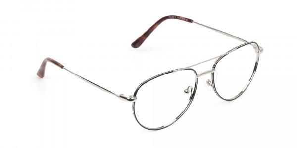 Black & Silver Aviator Glasses in Metal - 2