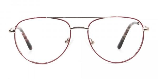 Gold Red Aviator Glasses in Metal - 1