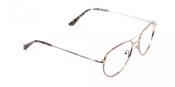 Gold Red Aviator Glasses in Metal - 2