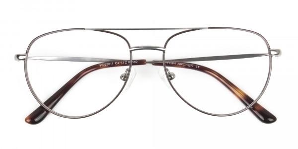 Brown Gunmetal Aviator Glasses - 6
