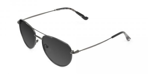 Grey Tinted Dark Navy Blue Aviator Sunglasses - 1