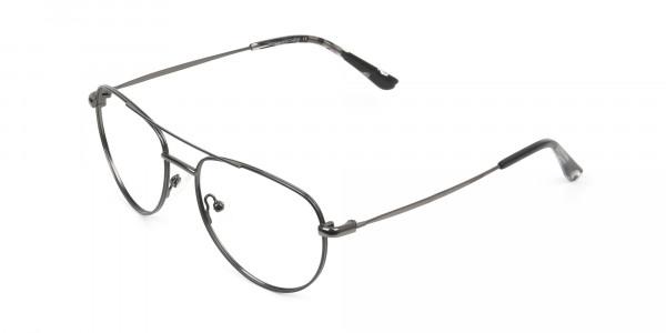 Black and Dark Gunmetal Aviator Glasses - 3