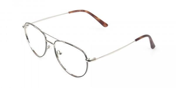 Black & Silver Aviator Glasses in Metal - 3