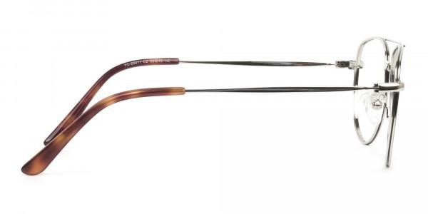 Black & Silver Aviator Glasses in Metal - 4