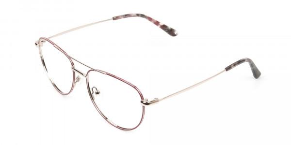 Gold Red Aviator Glasses in Metal - 3