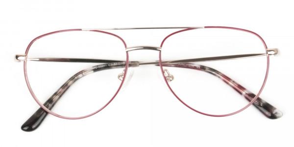 Gold Red Aviator Glasses in Metal - 6