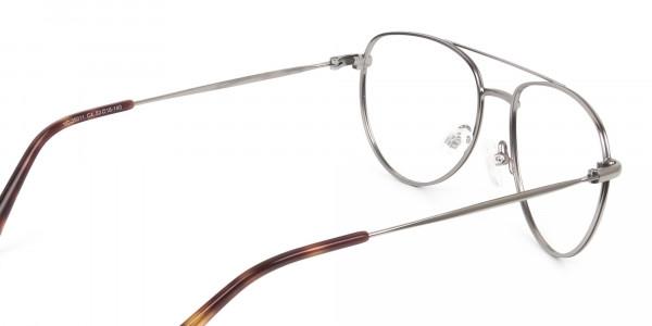 Brown Gunmetal Aviator Glasses - 5