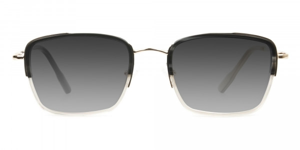 Grey Tinted Gold & Grey Square Wayfarer Sunglasses - 1