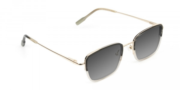 Grey Tinted Gold & Grey Square Wayfarer Sunglasses - 2