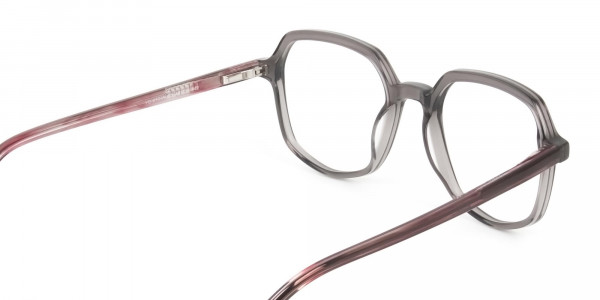 Geometric Heptagon Glasses in Grey Red - 5