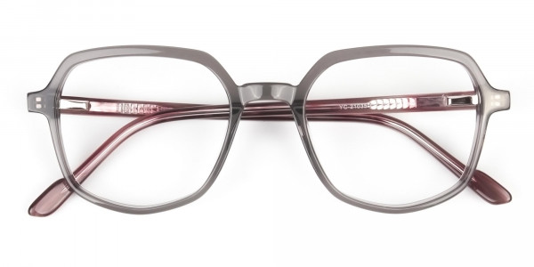 Geometric Heptagon Glasses in Grey Red - 6