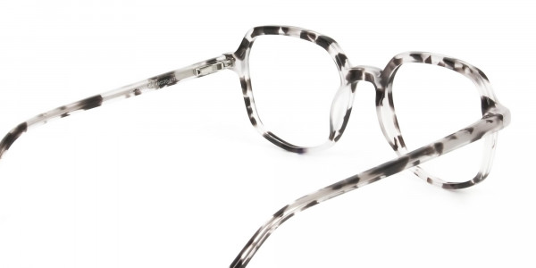 Spotty Black Heptagon Glasses - 5