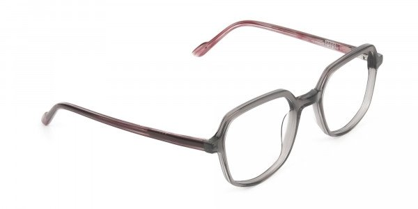 Geometric Heptagon Glasses in Grey Red - 2