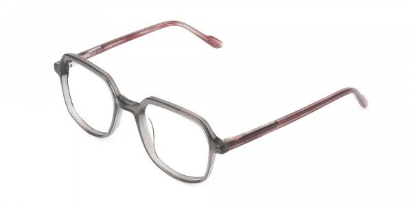 Geometric Heptagon Glasses in Grey Red - 3