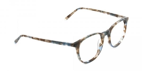 Tortoiseshell Brown and Blue Frame Glasses - 2