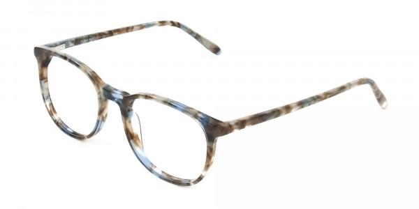 Tortoiseshell Brown and Blue Frame Glasses - 3