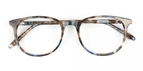 Tortoiseshell Brown and Blue Frame Glasses - 6