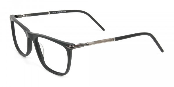 Matte Black Rectangle Spectacles in Acetate - 3