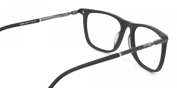 Matte Black Rectangle Spectacles in Acetate - 5
