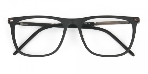 Matte Black Rectangle Spectacles in Acetate - 6