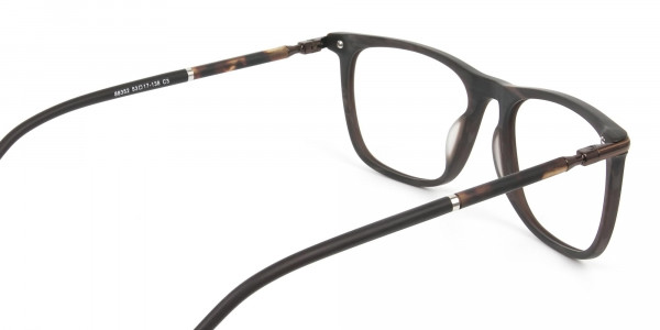 Matte Brown Rectangle Spectacles in Acetate - 5