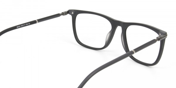 Matte Grey Rectangular Spectacles in Acetate - 5