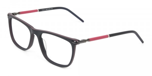 Matte Black and Red Rectangular Spectacles in Acetate - 3