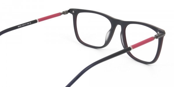Matte Black and Red Rectangular Spectacles in Acetate - 5