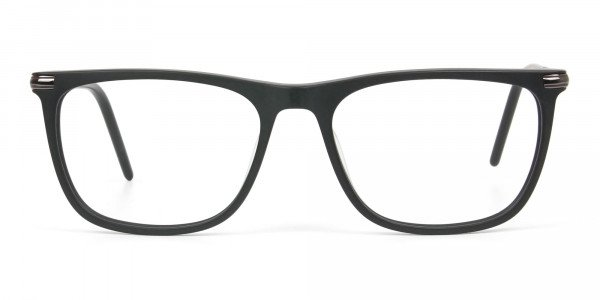 Matte Black Rectangle Spectacles in Acetate - 1