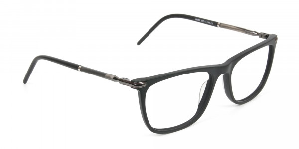 Matte Black Rectangle Spectacles in Acetate - 2