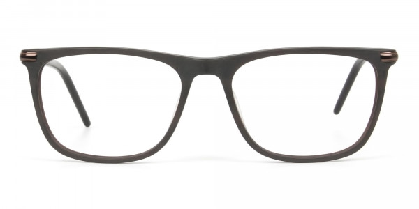 Matte Brown Rectangle Spectacles in Acetate - 1