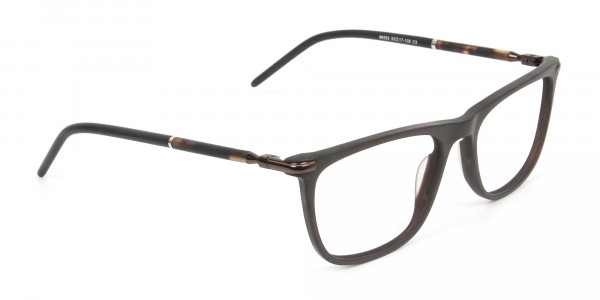 Matte Brown Rectangle Spectacles in Acetate - 2