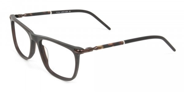 Matte Brown Rectangle Spectacles in Acetate - 3
