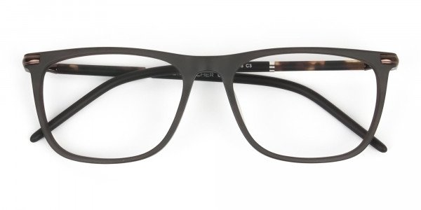 Matte Brown Rectangle Spectacles in Acetate - 6