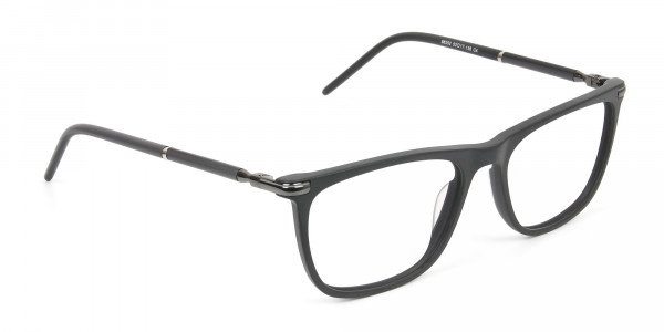 Matte Grey Rectangular Spectacles in Acetate - 2