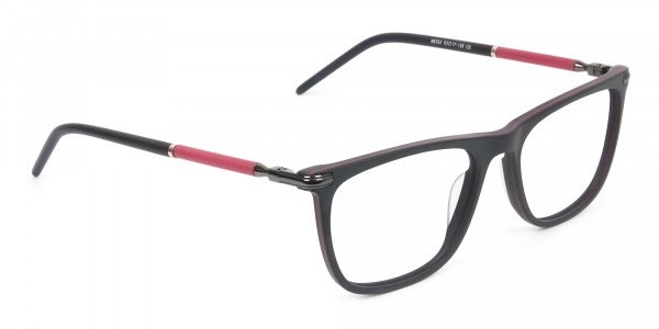 Matte Black and Red Rectangular Spectacles in Acetate - 2