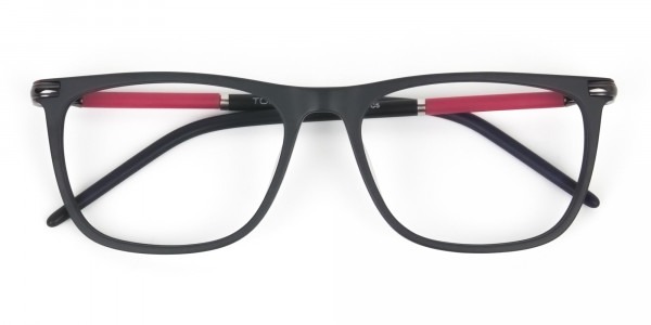 Matte Black and Red Rectangular Spectacles in Acetate - 6