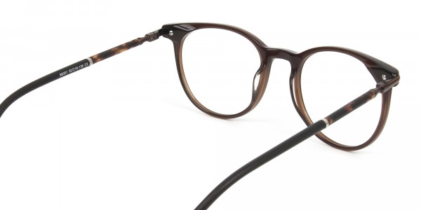 Dark Brown Round spectacles in Acetate - 5