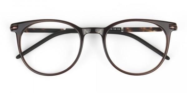 Dark Brown Round spectacles in Acetate - 6