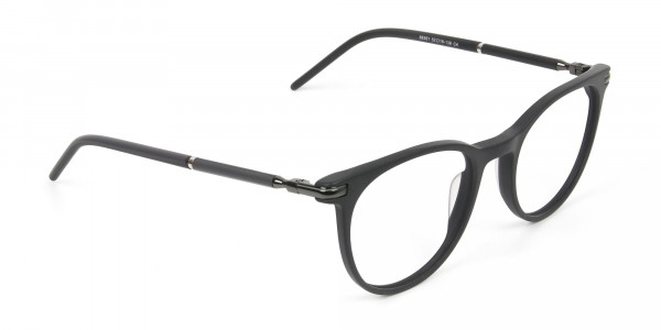 Matte Black Round Spectacles in Acetate - 2