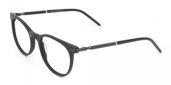 Matte Black Round Spectacles in Acetate - 3