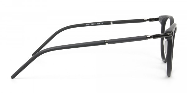 Matte Black Round Spectacles in Acetate - 4