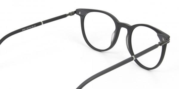 Matte Black Round Spectacles in Acetate - 5