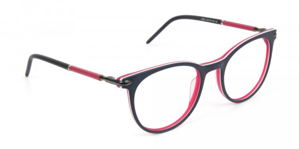 Navy Blue & Red Round Spectacles in Acetate - 2