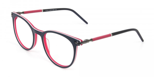 Navy Blue & Red Round Spectacles in Acetate - 3