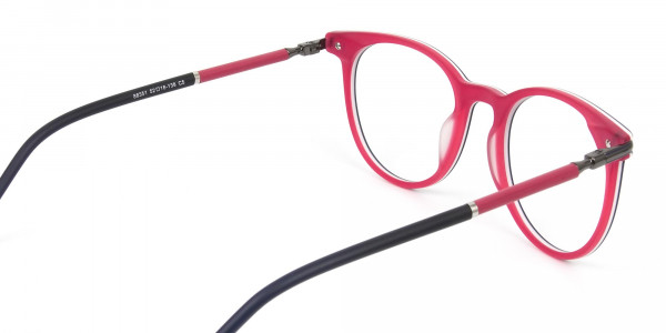 Navy Blue & Red Round Spectacles in Acetate - 5